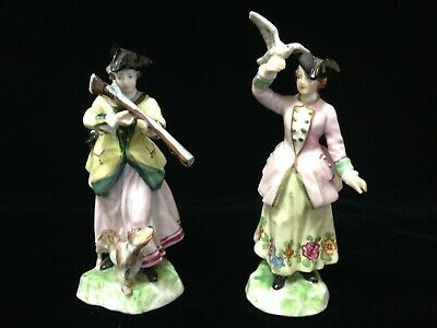 $ CDN168.47 • Buy Antique Dresden Pair Of Two Porcelain Cabinet Figurines Of Ladies In The 18th C.