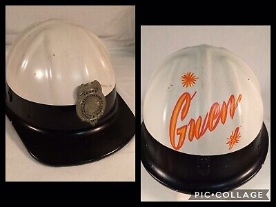 Vtg CUSTOMIZED UNION CARBIDE McDonald T MSA Aluminum Hard Hat Helmet ~ MUST SEE! • 89.01$
