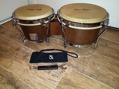 Gon Bops Mariano Bongo Drums With Chrome Hardware 7 & 8.5  Calf Skin Heads • 169$