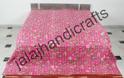 Indian Pink Cotton Kantha Quilt Bedding Bedspread Blanket King Size Floral Ralli • 36.72£