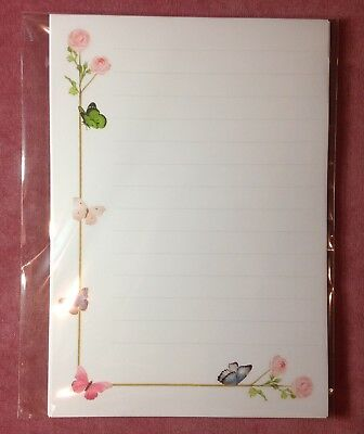 £3.40 • Buy Wild Pink Roses & Butterflies Lined Paper & Envelopes Stationery Writing Set 8+4
