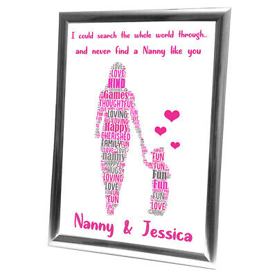 Personalised Christmas Gifts Nanny Nan Grandmother Her Frame  Card Grandaughter • 4.99£