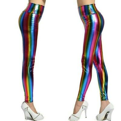 Women Faux Leather Leggings Rainbow Striped Shiny Fitness Pants Trousers Casual • 7.12£