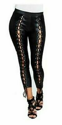 Womens Girls Skinny Fit Lace Up Faux Leather Wet Look High Waisted Leggings 6-12 • 7.90£