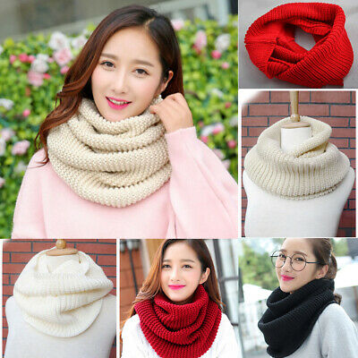 £6.89 • Buy Women Winter Warm Knitted Cable Knit Circle Loop Scarf Plain Cowl Neck Scarf