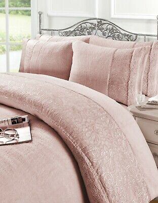 Luxury Teddy Fleece Embroidered Lace Duvet Cover Set Soft Warm New Bedding • 25.99£