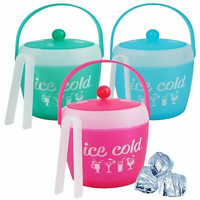Plastic Ice Cold Bucket With Tongs BBQ Picnic Drinks Wine Party Cooler Holder • 7.99£