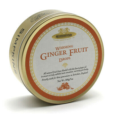 Simpkins Classic Warming Ginger Fruit Drops Travel Sweets 200g Tin • 2.30£