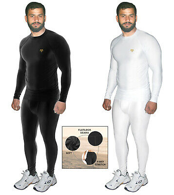 Mens Compression Base Layer Top Gym Armour Thermal Skin Fit Shirt Leggings Set • 10.99£