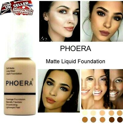 PHOERA® Foundation Concealer Makeup Full Coverage Matte Brighten Long Lasting UK • 5.69£