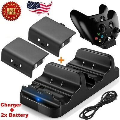 $19.99 • Buy XBOX ONE Dual Charging Dock Station Controller Charger + 2x Rechargeable Battery