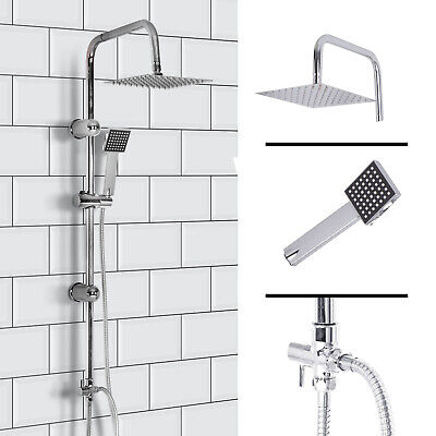 Shower Kit Twin Head 2 Mixer Shower Heads Rail Hose Riser Square Bathroom Set • 25.99£