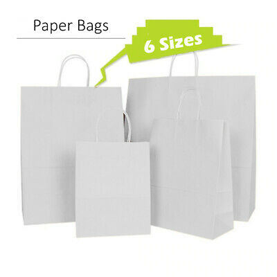 Quality Carrier White Kraft Paper Gift, Fashion Bags Strong Twisted Handle Cheap • 6.49£
