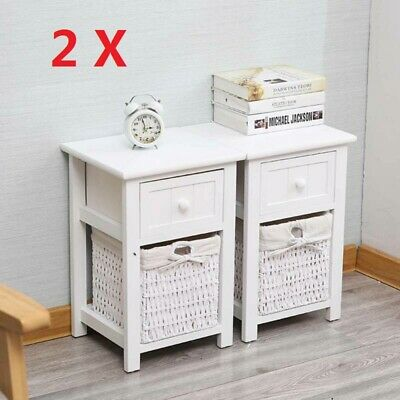 A Pair Of Wooden Bedside Tables NightStand Cabinet Storage Drawer Wicker Baskets • 55.99£