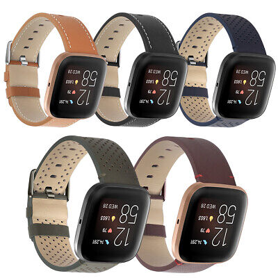 $ CDN13.04 • Buy Genuine Leather Bands For Fitbit Versa2 Bracelet Watchband Straps Soft 22mm