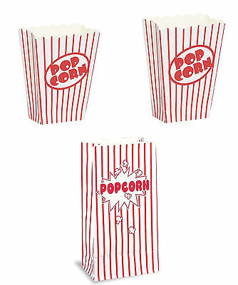 Party Popcorn Boxes/Bags Red Striped Coloured Popcorn Parties Hollywood Treats  • 1.89£