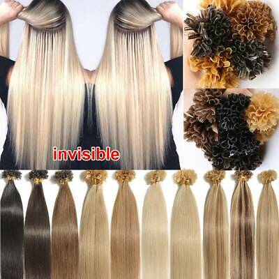 $24.67 • Buy 100% Real Remy Human Hair Extentions Pre Bonded Glue Keratin Nail U Tip Blonde K