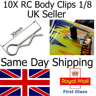 10x RC CAR Body Shell Clips Pins LARGE SIZE 1/8 Scale Buggy Truck NEXT DAY DEL • 2.75£