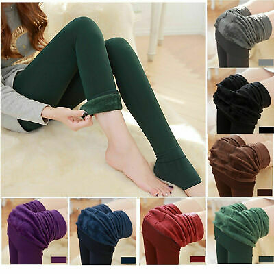 Women's Solid Winter Warm Fleece Thick Lined Thermal Stretchy Leggings Pants .. • 4.98£
