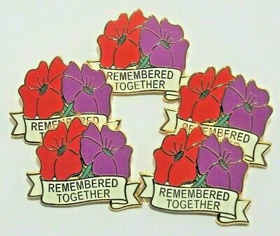 5 X 'Remembered Together' Purple & Red Poppy Enamel Badges • 11.25£