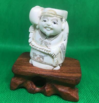 £45 • Buy Netsuke Bovine Bone Hand Carved Sage With A Large Hammer On Stand Well Decorated