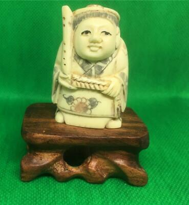 £42 • Buy Netsuke Bovine Bone Hand Carved Ancient Holy Man On Stand Well Decorated
