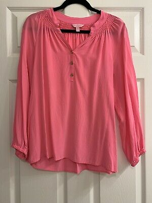 Lilly Pulitzer Elsa Silk Top Pink Size Medium • 39.99$