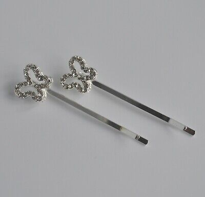 2 X Clear Crystal Hair Grips/slides.Diamante/rhinestone Flower/butterfly Bridal • 3.19£