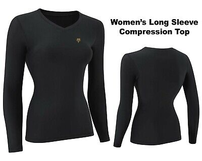 USD Women's Compression Top Long Sleeve Base Layer Running Gym Training Top S-XL • 10.49£