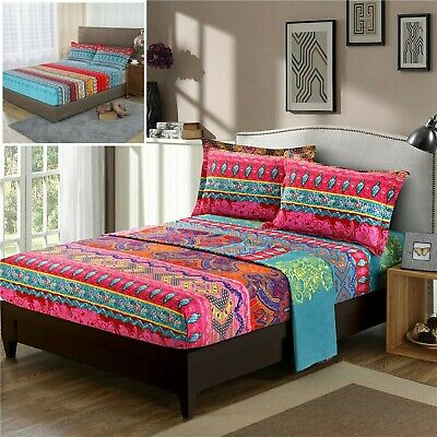 AU35.09 • Buy Mandala Fitted Sheet+Flat Sheet+Pillowcases Set Double Queen King Size Bedding