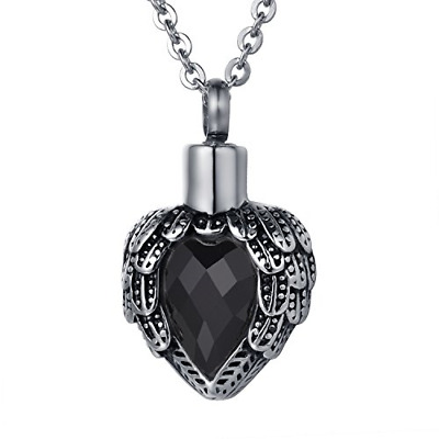 ZCBRISK Black Birthstone Angel Wing Cremation Jewellery Urn Necklace For Ashes • 16.62£