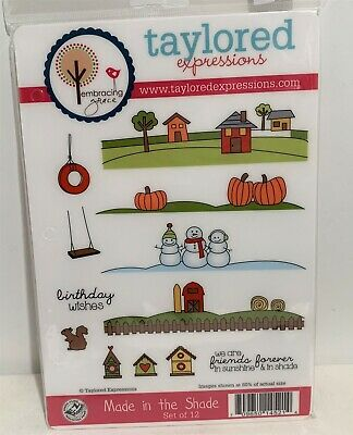 Taylored Expressions MADE IN THE SHADE Landscape Holidays Farm Rubber Stamps Set • 19.99$