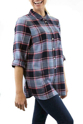 £13.99 • Buy Ladies Grey Blue Check Cotton Longer Tunic Supersoft Womens Casual Shirt Top