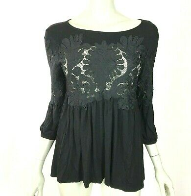 $ CDN38.72 • Buy Anthropologie Deletta Black Lace Embroidered Blouse Top 3/4 Sleeve Women XS