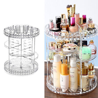Make Up Cosmetic Organizer Storage Box Shelf 360 Degree Rotating Display Stand • 10.99£