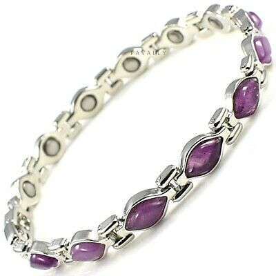 WOMENS MAGNETIC BRACELET 13 MAGNETS Carpal Tunnel Arthritis Ladies Silver Purple • 9.95£
