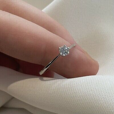 Ladies 925 Sterling Silver Cubic Zirconia Engagement Solitaire Ring Sizes I-U • 16.55£