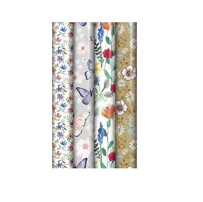 £7.69 • Buy 4 Rolls Of 3M X 70CM Ladies Floral Mixed Birthday Wedding Gift Wrapping Paper