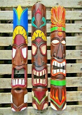 Wooden Tiki Mask Fair Trade Hand Carved Made Wall Art Maori Ethnic Plaque 100cm  • 29.95£