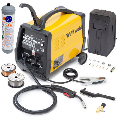 WOLF MIG 140X Welder Gas & No Gas Combination Turbo Smooth DC Welder & Accessory • 199.99£
