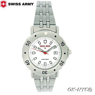 Women's SWISS ARMY S.A.W. CO Steel Date W/R 10 ATM Quartz 32 MM Watch REF 1798 • 92.78£