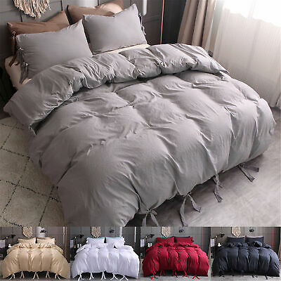$19.99 • Buy Duvet Cover Strap Comforter Cover W Pillowcase Bedding Set Twin Queen King Size