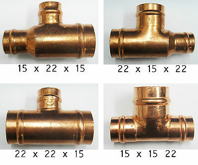 Copper Yorkshire Reducing Branch Tee Solder Fit In Various Options • 4.25£