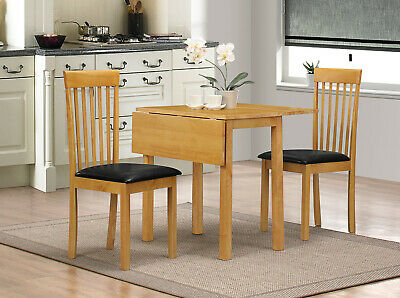 Dining Kitchen Table Set Two Drop Leaf Folding Two Chairs Natural Oak Finish • 99.99£