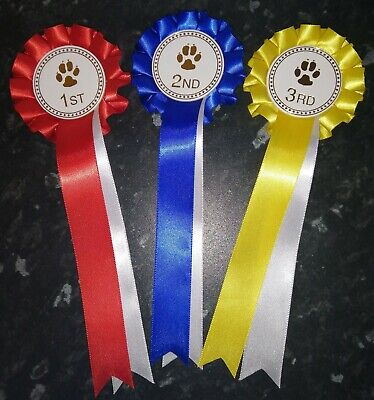 £3.50 • Buy Dog Show Rosettes Set Of 1st-3rd.  FREE POSTAGE
