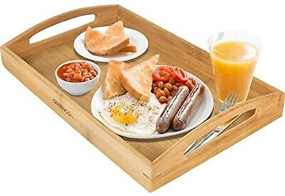 $27.75 • Buy Bamboo Wood Bed Tray Table Breakfast In Bed Table Eating Laptop Food Lap Desk