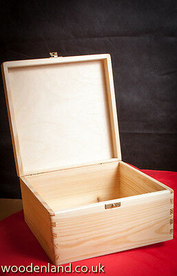 UNPAINTED NEW WOODEN BOX 28cm/KEEPSAKE SOUVENIRS MEMORY BOX/ ART CRAFT DECOUPAGE • 4.79£