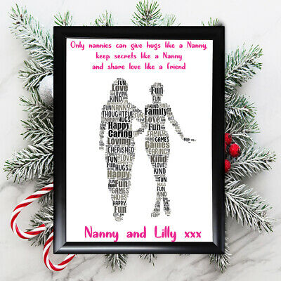 Personalised Grandaughter Gifts Nanny Nan Grandmother Her Framed  Card Christmas • 4.49£