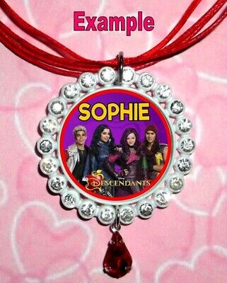 PERSONALISED DISNEY DESCENDANTS Any Name Message Custom Children Ribbon Necklace • 4.34£