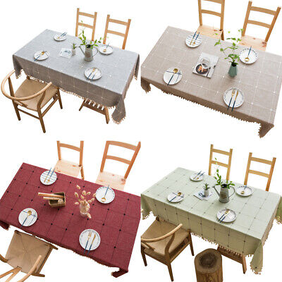 AU27.35 • Buy Cotton Linen Tablecloth Dining Table Cloth Cover Kitchen Wedding Party Banquet
